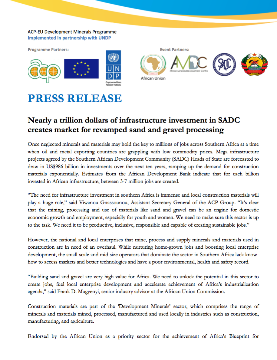 Nearly a trillion dollars of infrastructure investment in SADC creates market for revamped sand and gravel processing
